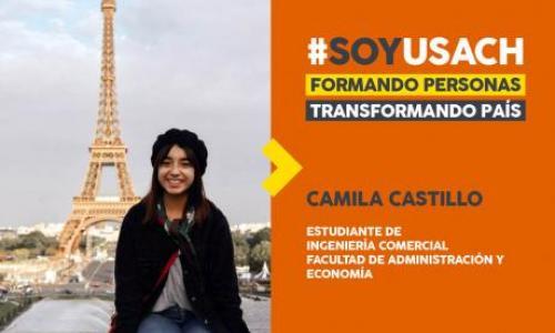Estudiante Camila Castillo en París, Francia.